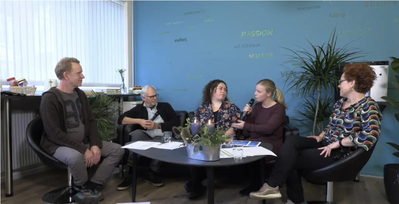 Screenshot fra en mindre online konference i talkshow-format som Lolland Kommune afholdt tidligere på året.